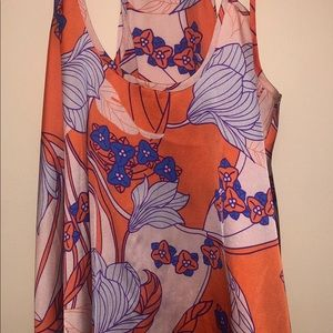 COLLECTIVE CONCEPTS ORANGE & BLUE PATTERNED TOP